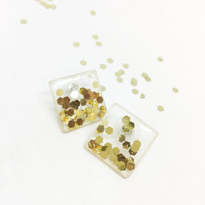 Glitter&Glam Stud Earrings - Gold