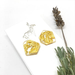Organic Stud Earrings - Gold