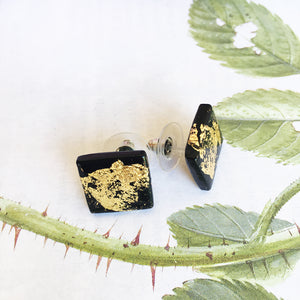 Black & Gold Square Stud Earrings