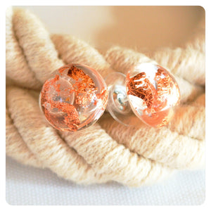 Copper Leaf Studs - Transparent - ZA Kreated - 2