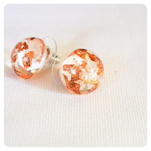 Copper Leaf Studs - Transparent - ZA Kreated - 3