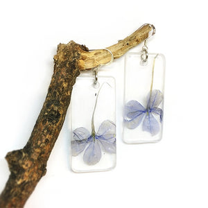 Pressed Purple Dangle Earrings