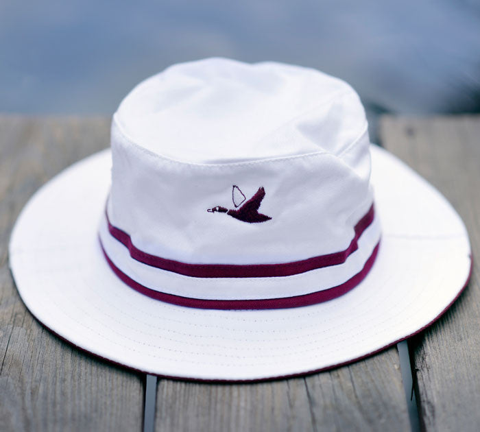 White and Maroon Bucket Hat - The Mallard - 1