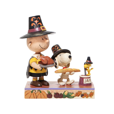 PRE-ORDER: Enesco Peanuts By Jim Shore Thanksgiving Charlie Brown Statue
