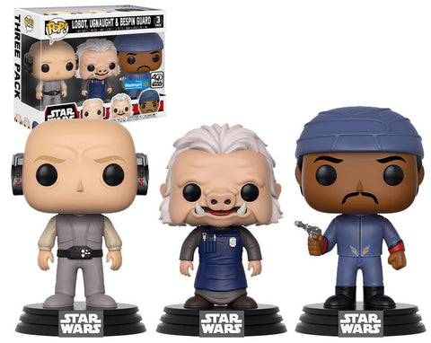Funko Pop Star Wars: Lobot, Ugnaught, Bespin Guard 3-Pack Walmart Exclusive - collectorzown