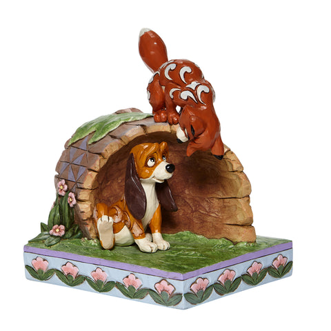 Enesco Disney Traditions Fox and Hound on Log Statue