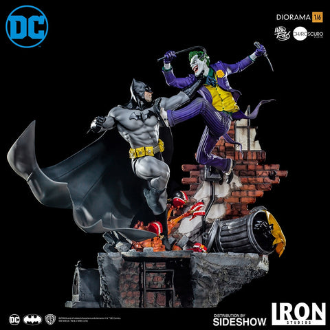 PRE-ORDER: Iron Studios Batman VS Joker Sixth Scale Diorama