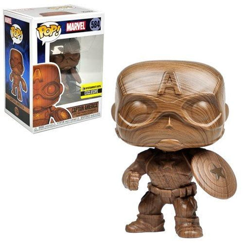 Funko Pop! Marvel Captain America Wood Deco #584 Entertainment Earth Exclusive