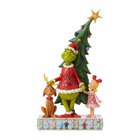PRE-ORDER: Enesco Grinch, Max and Cindy by Tree Statue