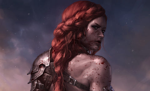 PRE-ORDER: Sideshow Collectibles Red Sonja: Birth of the She-Devil (Post-Battle Bloody Variant) Art Print