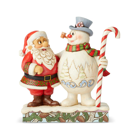 PRE-ORDER: Enesco Santa & Frosty with Candy Cane Statue