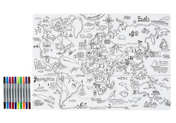 world map for kids to color in