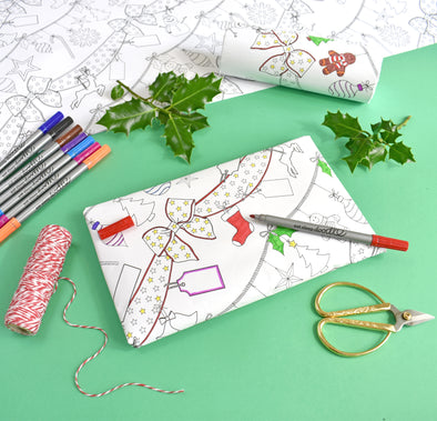Color-in Holiday wrapping paper set