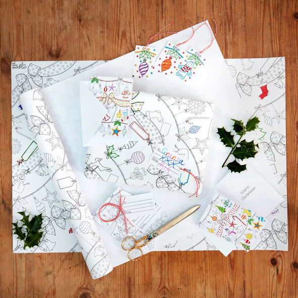 color-in holiday wrapping kit