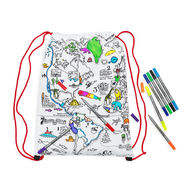 color & learn world map backpack
