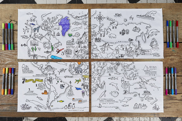 color in world map placemats