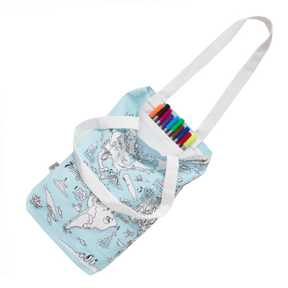 world map cotton bag with markers