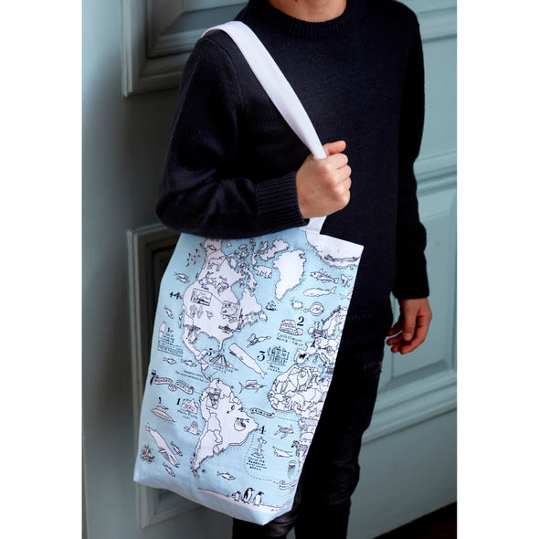 world map color-in bag