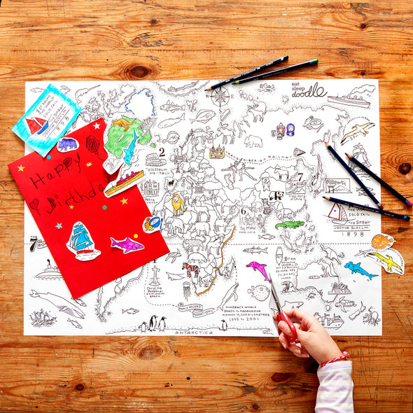 color in world map wrapping paper activity kit