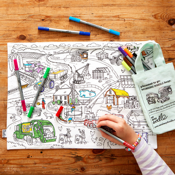 colour in cars and trucks placemat