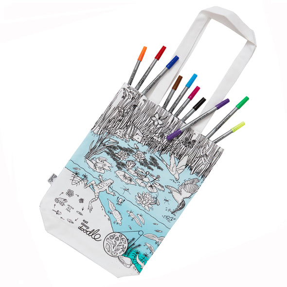 color-in tote bag pond life design