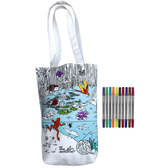 color your own tote bag pond creatures