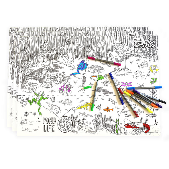 pond themed coloring  activity sheets
