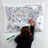state capitals, birds and flowers color-in pillowcase