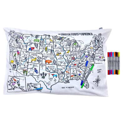 US map pillowcase - color in & learn