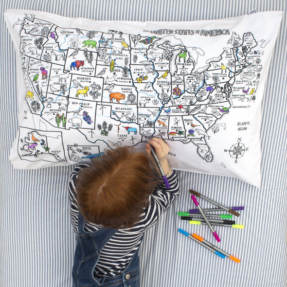 fun kids color-in pillowcase