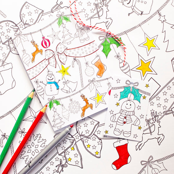color-in Holiday cards and tags