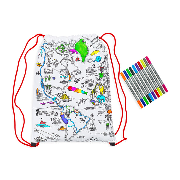 color in world map backpack
