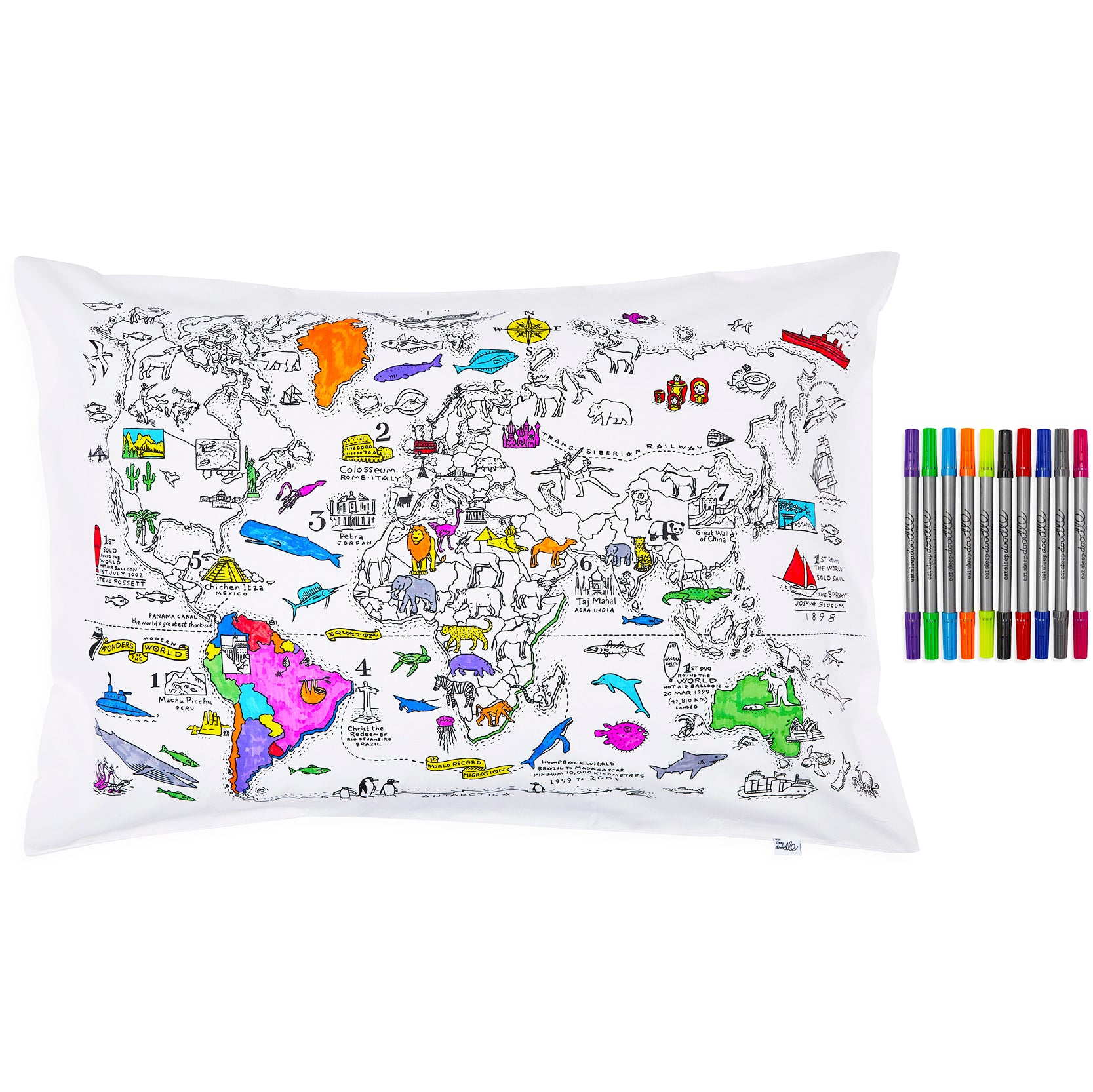World Map color in cotton pillowcase