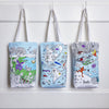 eatsleepdoodle color in cotton tote bag shoppers