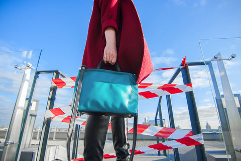 Bright blue handbag