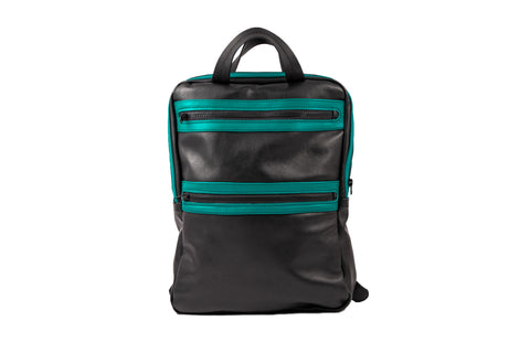 Turquoise Black Leather Backpack - ,Maruu Leather