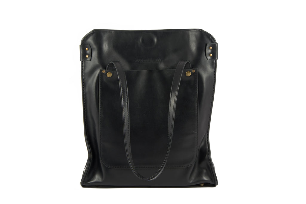 Black leather tote bag - ,Maruu Leather