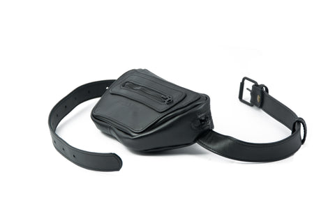 Black leather fanny pack - ,Maruu Leather