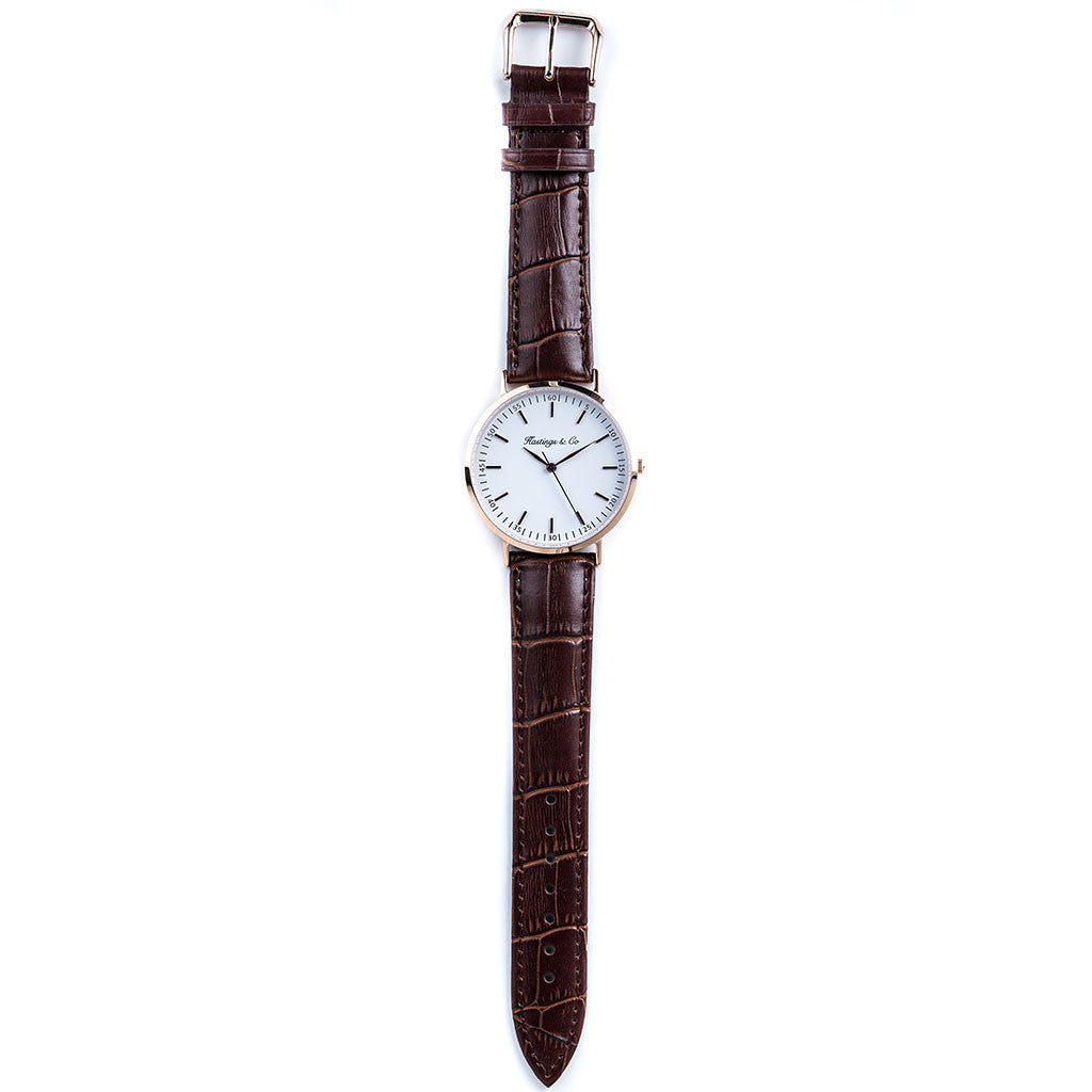 74ae3382c Rose Gold Classic Edition Watch with a Genuine Brown Crocodile Leather Strap