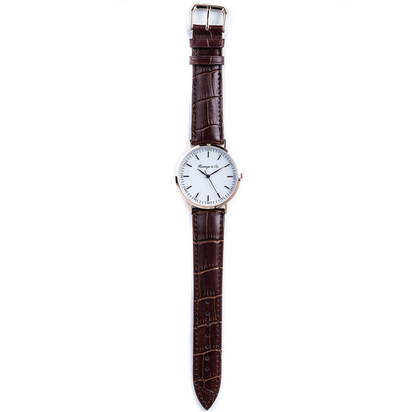 463784a23 ... Rose Gold Classic Edition 36mm Watch with a Genuine Brown Crocodile  Leather Strap ...