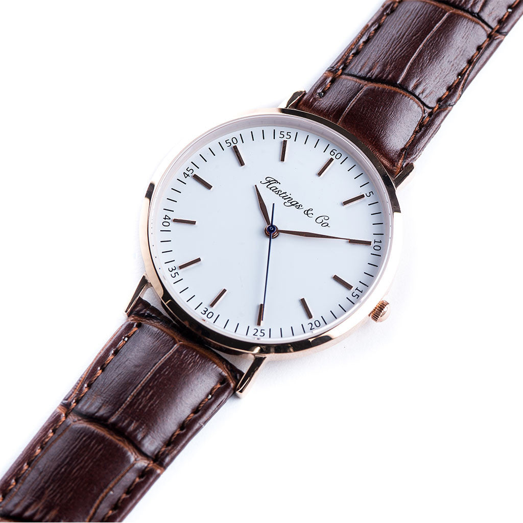 b99c95d39 Rose Gold Classic Edition Watch with a Genuine Brown Crocodile Leather -  Hastings & Co.