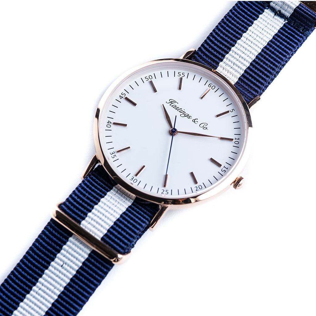 69de3be00 Rose Gold Classic Edition Watch with a Navy Blue and White Striped Nato  Strap