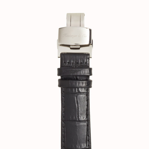 Invictus - Silver with White Face & Black Crocodile Leather Strap