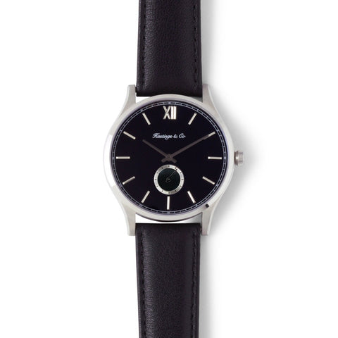 Invictus - Silver with Black Face & Genuine Black Leather Strap