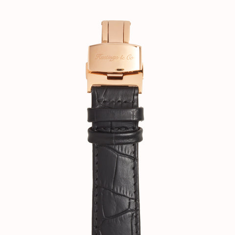 Invictus - Rose Gold with Black Face & Black Crocodile Leather Strap