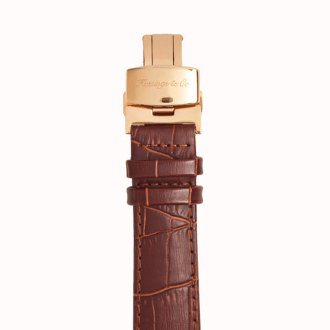 Invictus - Rose Gold with White Face & Brown Crocodile Leather Strap