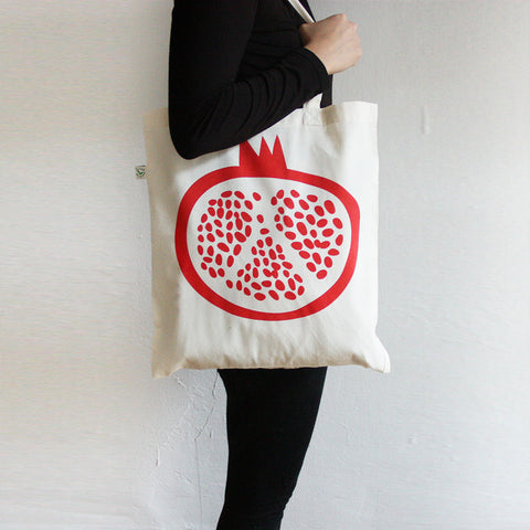 White Pomegranate Tote Bag — 100% Organic Cotton