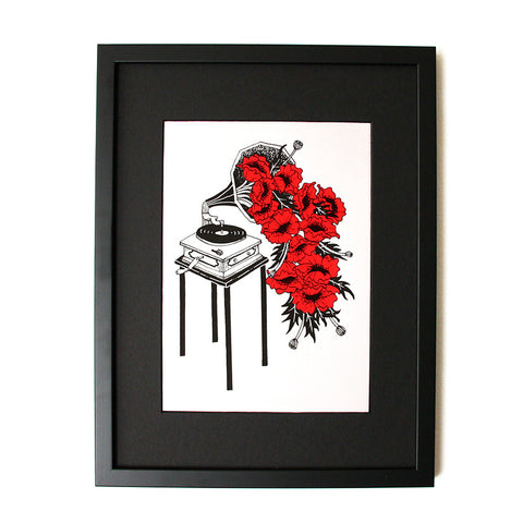 Gramophone Poppies - Limited Edition Screenprint