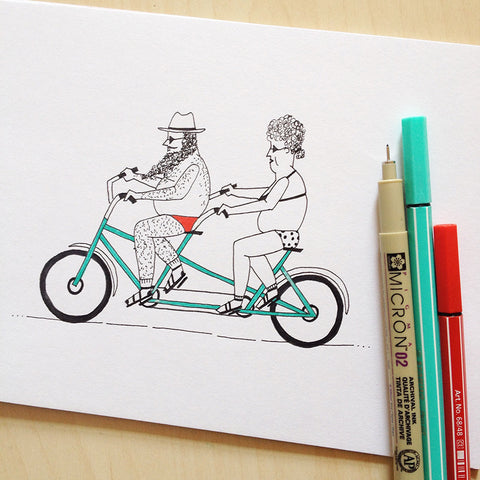 Tandem Biking - Original Illustration