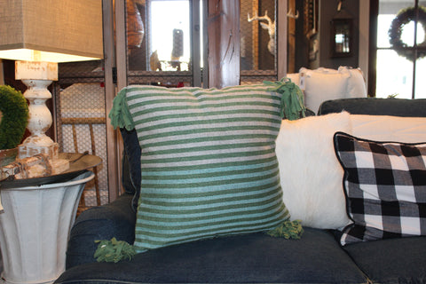 Wool Multi-striped Pillow w/ Tassels